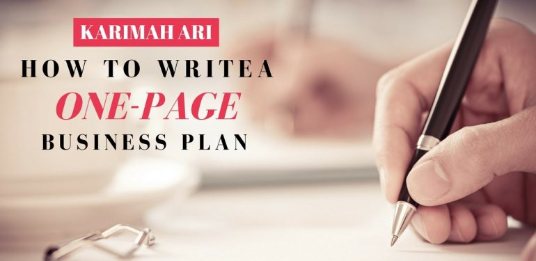 how to write a one page business plan